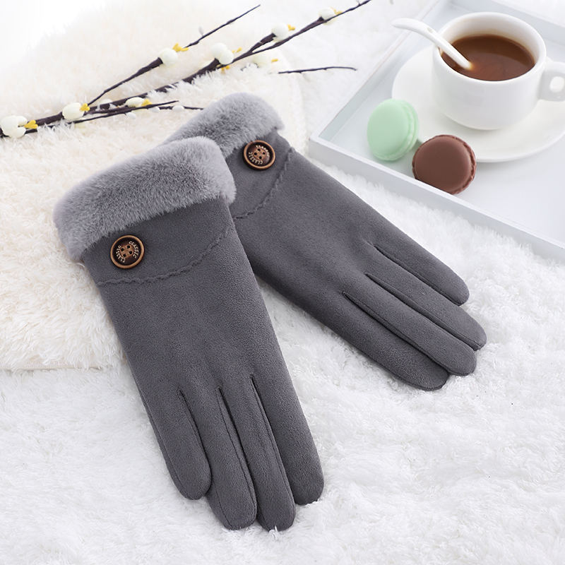 Fashion touch screen bike riding faux suede sexy winter women gloves
