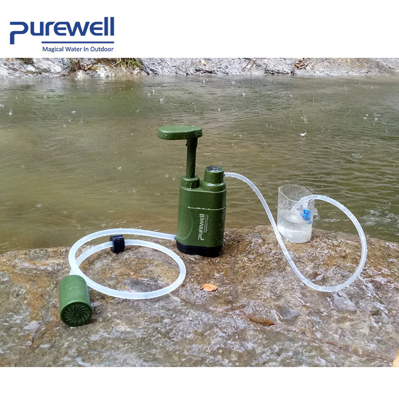 portable personal water filter for camping, military, tactical, emergency, first aid kit