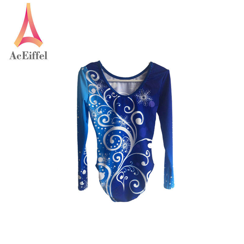 Long sleeves spandex gymnastics leotards girls for competition