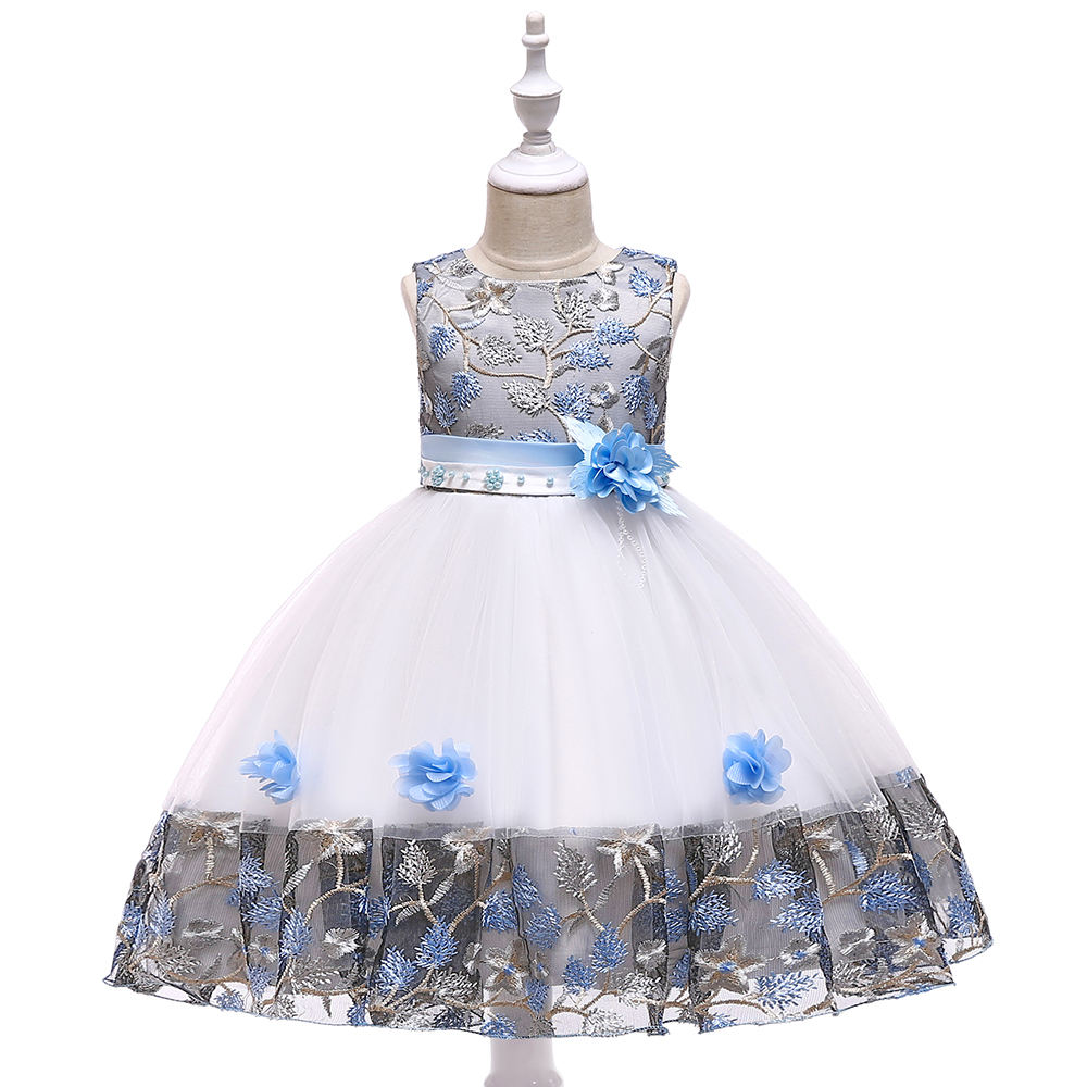 Wholesale Bulk Sale Gown Kids Formal Flower Dress Wedding Event Frock Birthday Ceremony Girl Party Dress L5045
