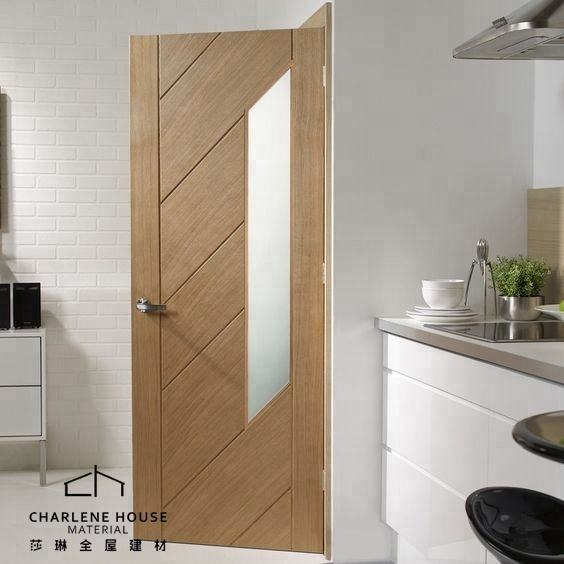 Glazed Glass Design Solid Oak Wood Modern Oak Doors Series