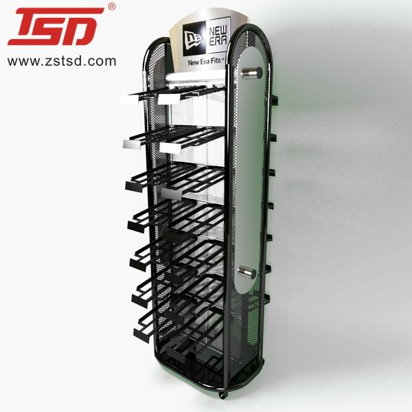 Custom staande metalen hoed display rack voor winkel, hoed display plank, cap display stand