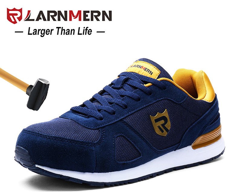 LARNMERN Men Steel Toe Brand safety Shoes Lightweight Breathable Anti-smashing Reflective Protective Work Italian Safety Shoes
