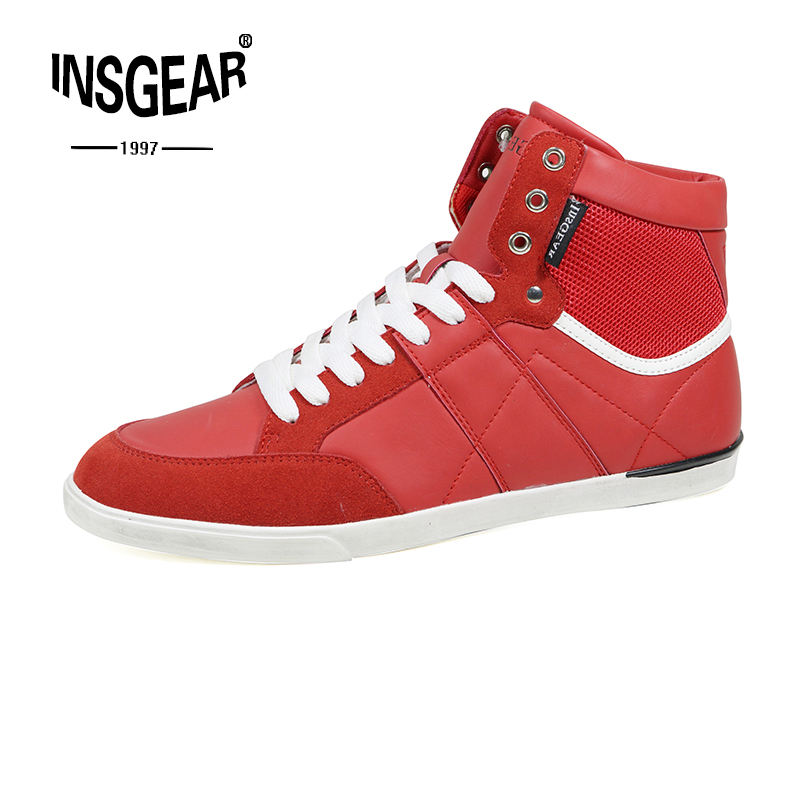 InsG Mens Red Color Skytop Hi Skate Shoes High Top Custom Sneakers Boots For Men