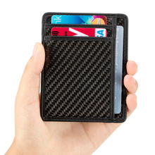 Slim minimalist front pocket RFID blocking carbon fiber leather wallets for men women
