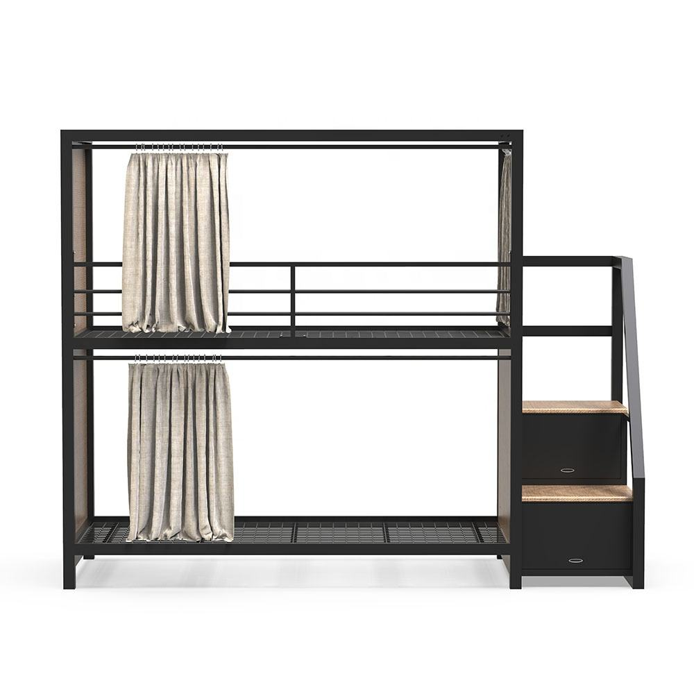 Durable steel metal easy assembly twins bunk bed of double decker bed for hotel and hostel with curtain and step