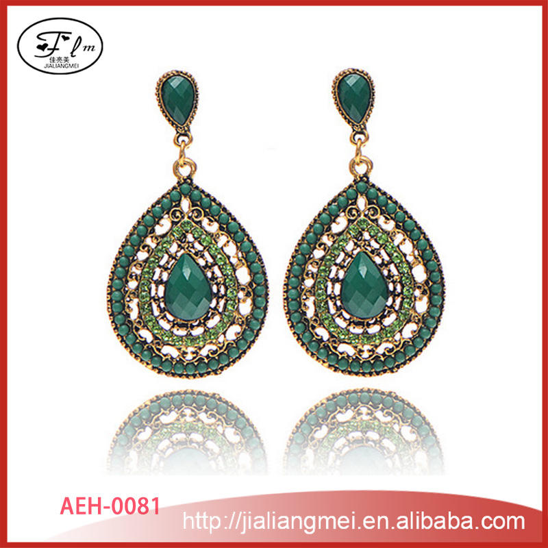 Bohemian turquoise rhinestone droplets earrings wholesale