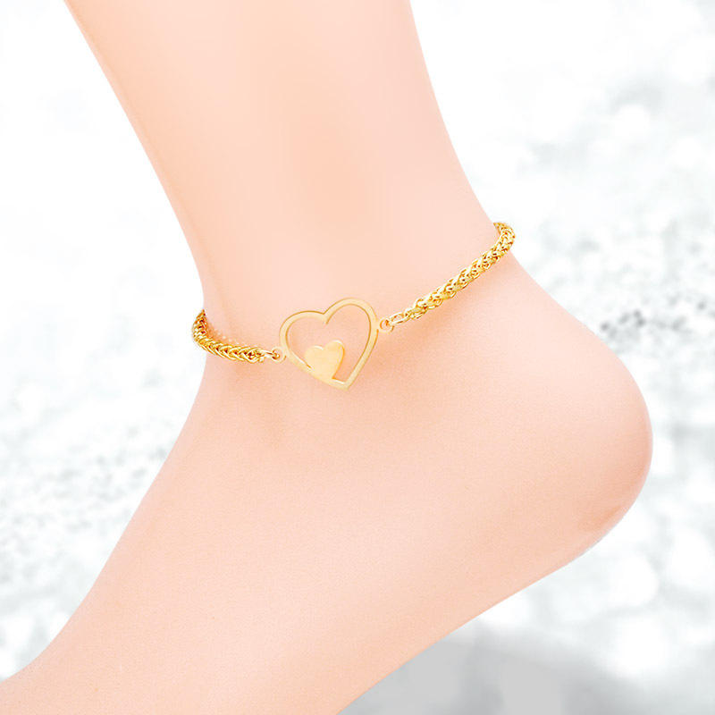 금 색 Heart Anklets 대 한 Women Stainless Steel 보석 2018 New Design Anklet