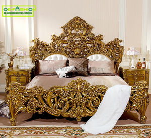 Italian baroque bedroom furniture birch wood double bed designs king size bed