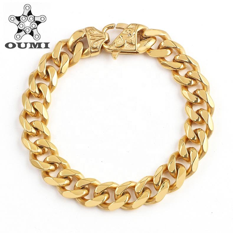 OUMI Classical Jewelry Stainless Steel 18K Gold Filled Cuban Link Chain Bracelet For Womens/Mens