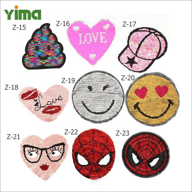 Sew-On Custom Wholesale Change Color Reversible Sequin Patches Clothes Diy Embroidered Motif Applique For Clothing T-shirt