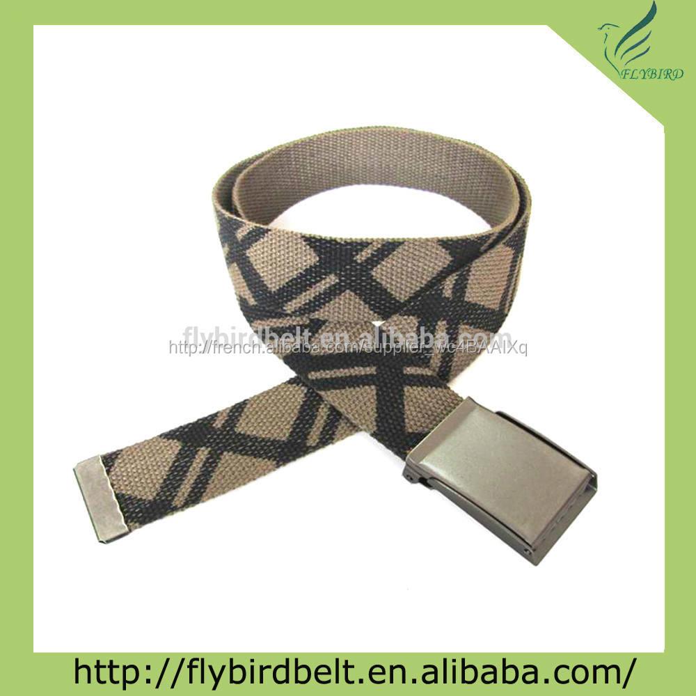 Personnalisé imprimé web ceinture avec bouton boucle ouverte