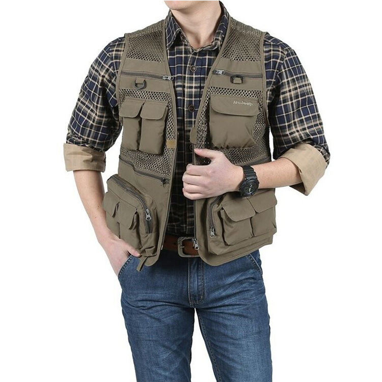 Outdoor Mens Breathable Mesh Photographer and Fishing Vest
