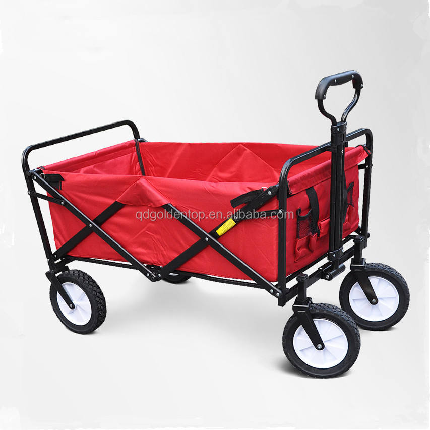 4 Wheel Collapsible Folding Outdoor Utility Wagon Cart with wheel, Garden Trolley Cart for kids