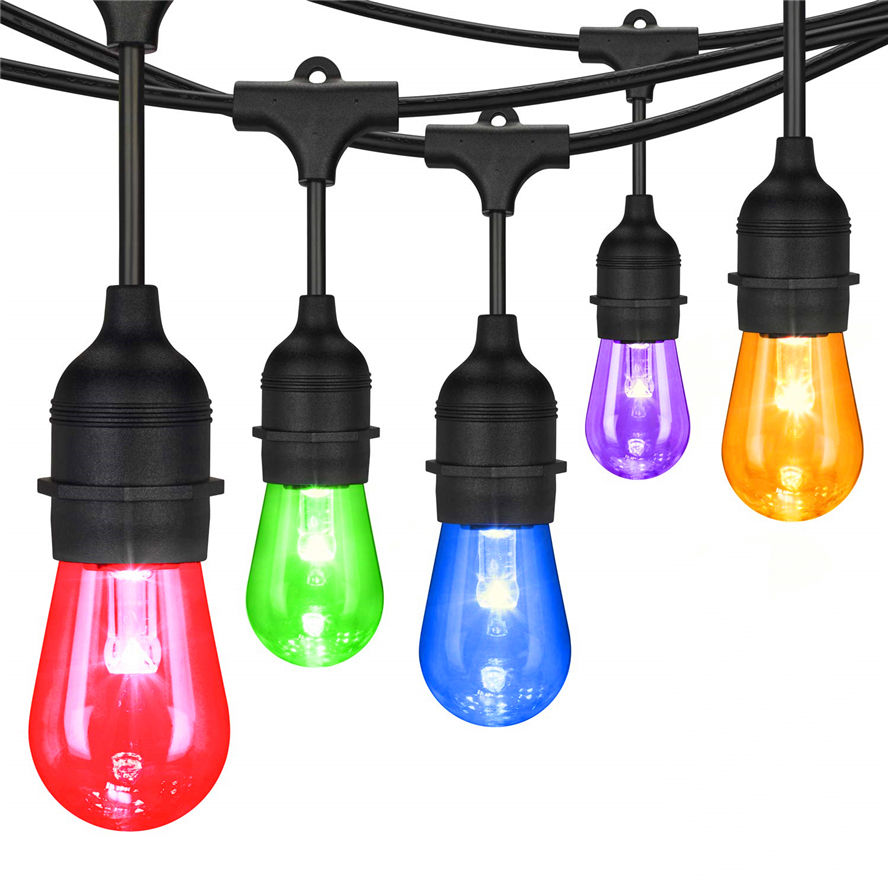 Outdoor decorative RGB S14 waterproof plastic bulb color change RGBW Led String Light