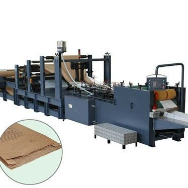 fully automatic brown mini flat square bottom carry food sheet fed shopping kraft small grocery paper bag making machine