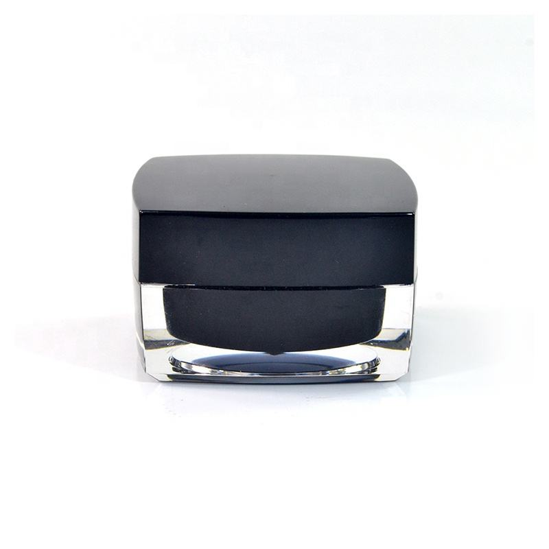 Empty cream container 5g 10g 15g 30g 50g square black acrylic cosmetic jar for skin care