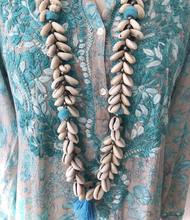 Zooying Long natural sea shell boho mala with pompon and silk fringes necklace