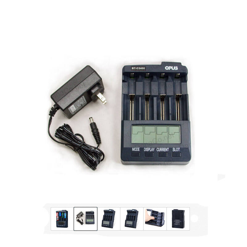 Opus BT-C3100 V2.2 Smart LCD 4-Slots Battery Charger Analyzer Tester Li-ion NiMH AA AAA 10440 14500 16340 18650 Battery Charger