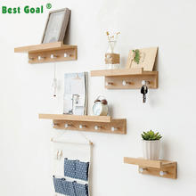 Bedroom Solid Wood Wall Hanging clothing creative wooden Wall shelf with coat hooks