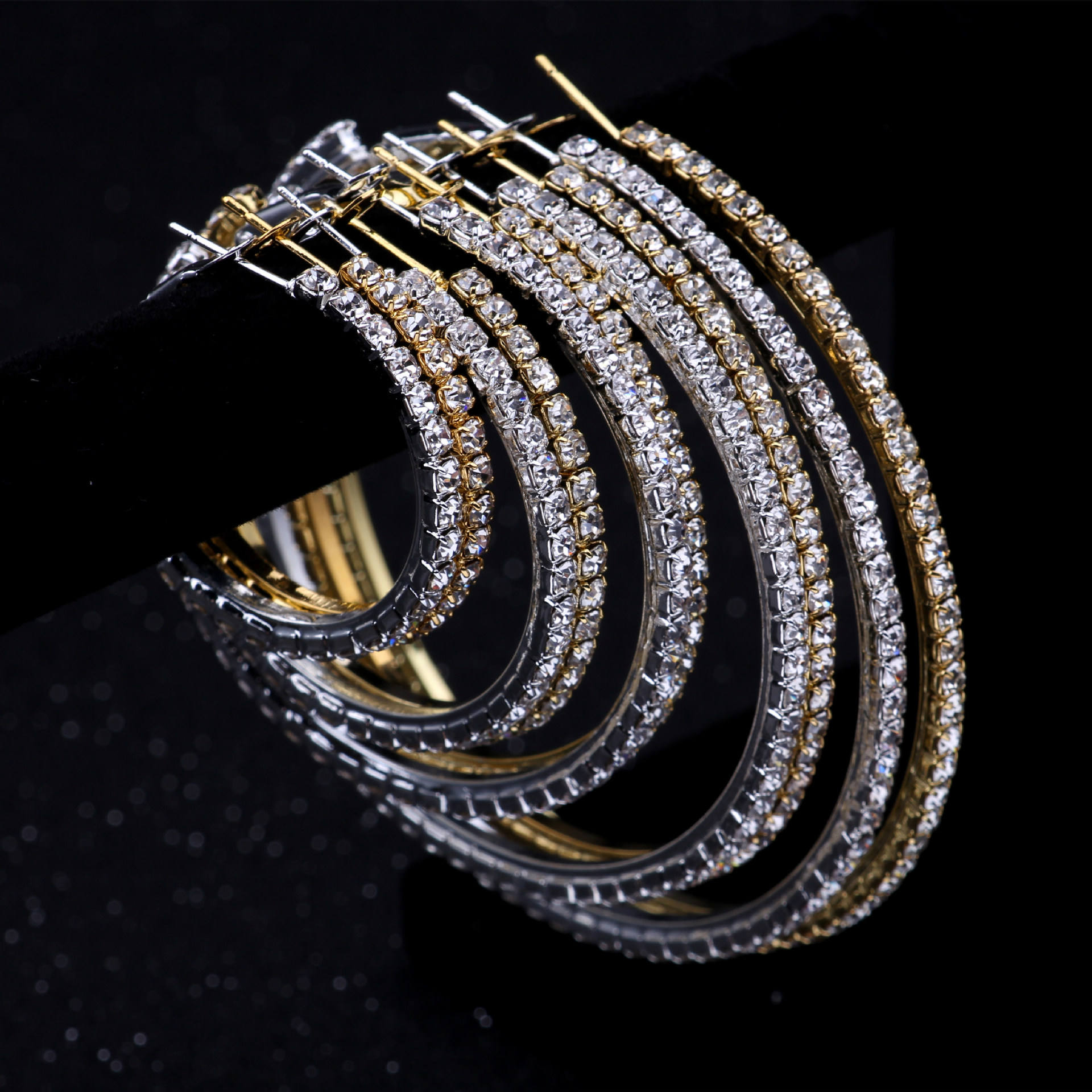 2-10 cm hoop big circle earrings fashion new arrival extra big large crystal hoop earrings party gold hoop earrings