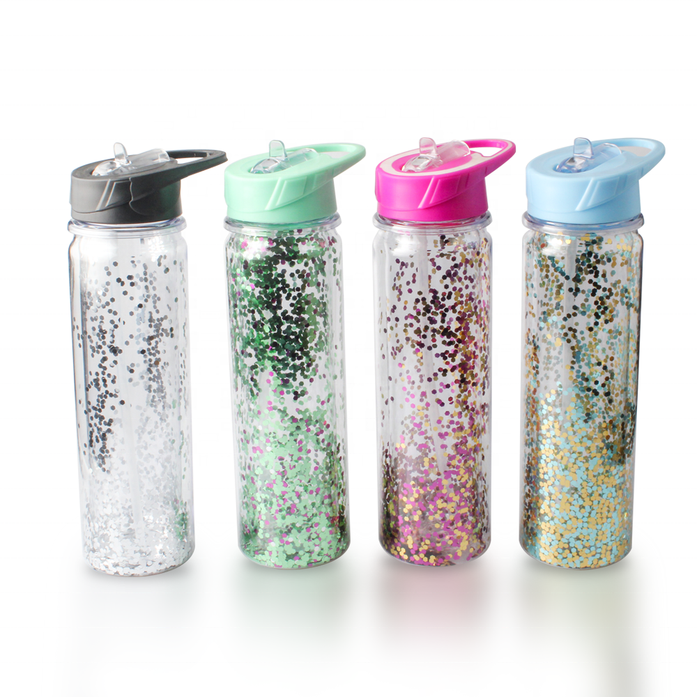 Double Wall Cup Glitter Tumbler With Straw from United