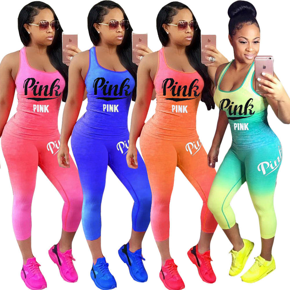 Hot Letter Print Women Outfits Sleeveless T-Shirt And Long Pants 2 Piece Set Fitness Women Summer Tracksuit