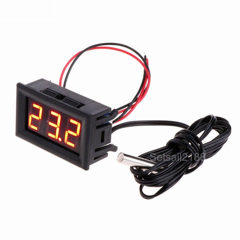 Digital 12V Temperature Meter Thermometer gauge -50~+110 degree 0.56'' red blue green