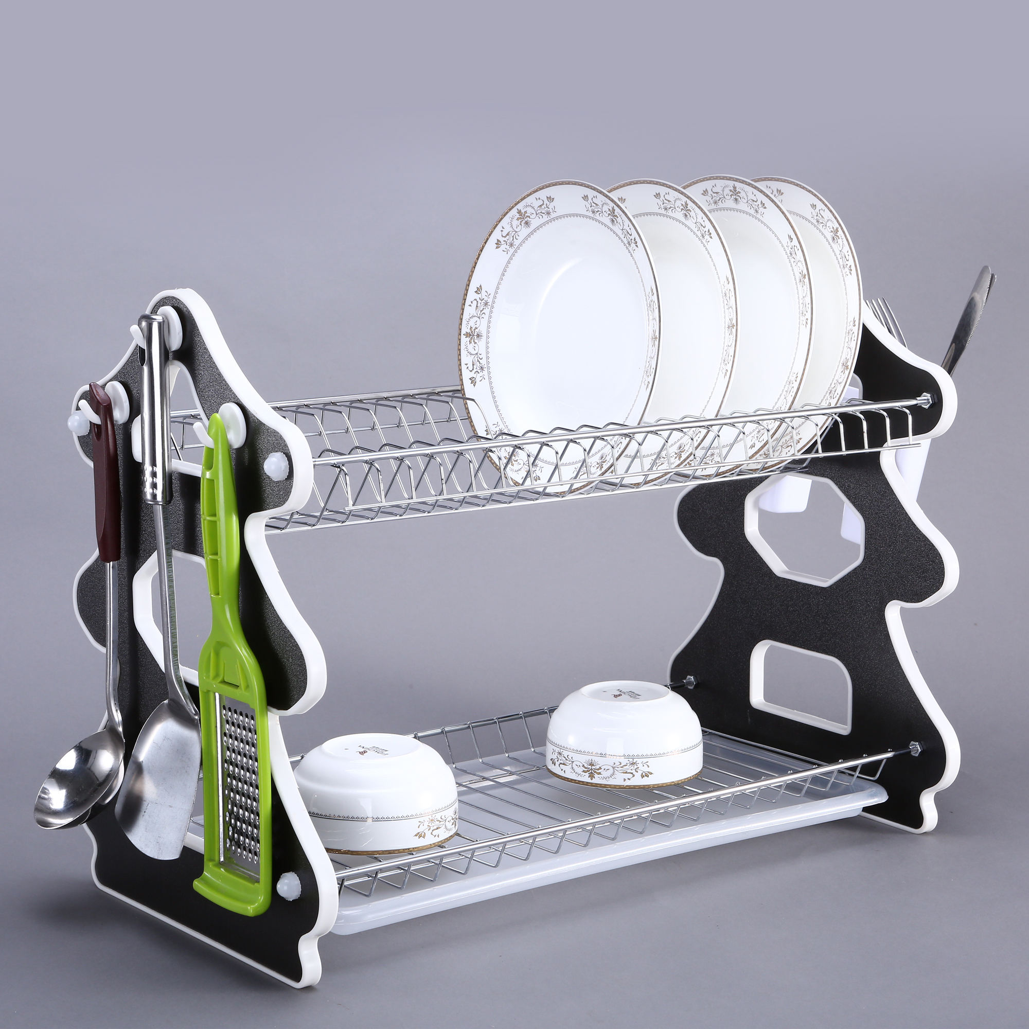 Stylish Double tier kitchen Metal wire & composite panel Tree Shape Drying Dish Rack for storage bowl dish spoon chopsticks