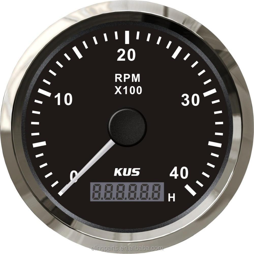 KUS 85mm Diesel Tachymètre Indicateur COMPTE-TOURS Avec Compteur Horaire 4000 <span class=keywords><strong>RPM</strong></span> 12 V/24 V Avec <span class=keywords><strong>r</strong></span>étro-éclairage