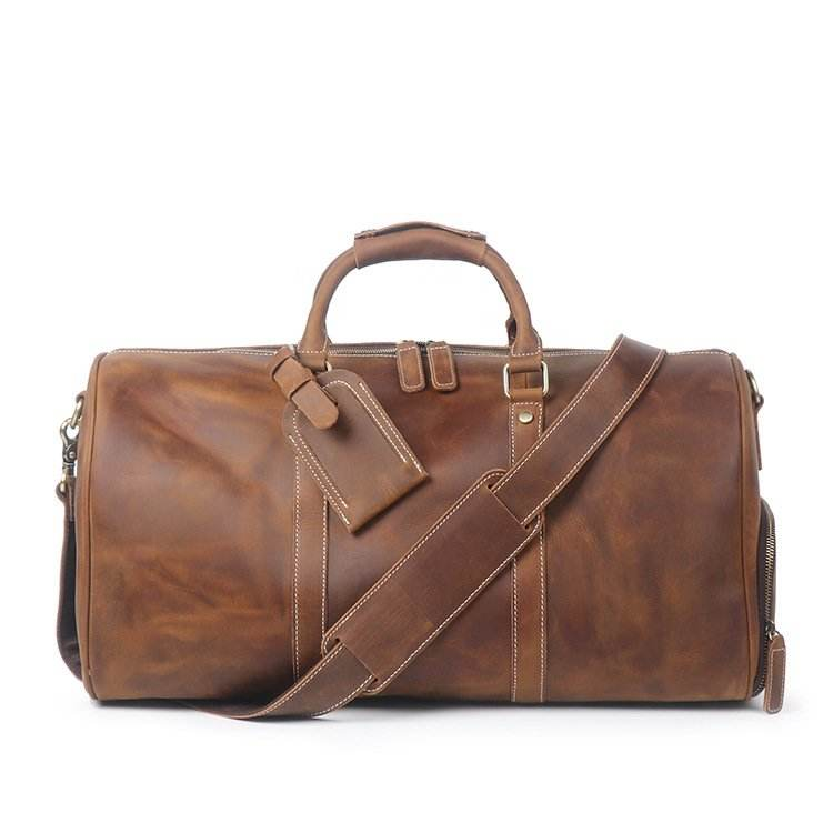 Vintage Crazy Horse Leather Duffle Bag Travel Bag with Shoes Compartment Weekend Bag S12026