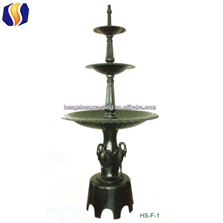 garden decoration outdoor dark green 3 bowls water fountains