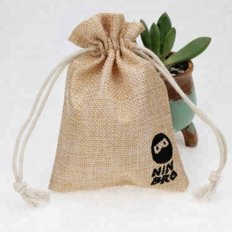custom printed coffee gift drawstring burlap pouch jute sacks