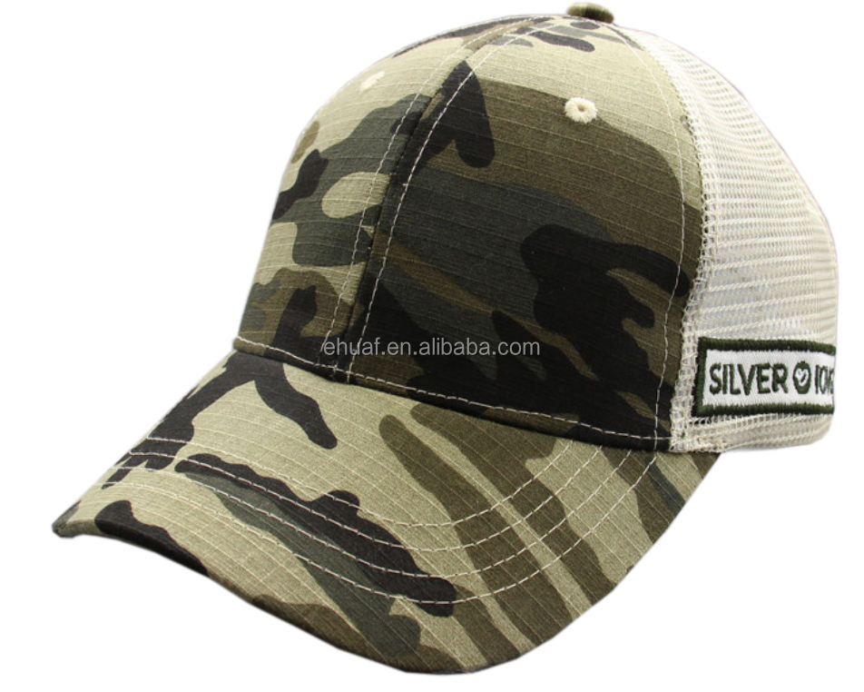 6 panel constructed cotton rip stop and mesh embroidery camo trucker hat