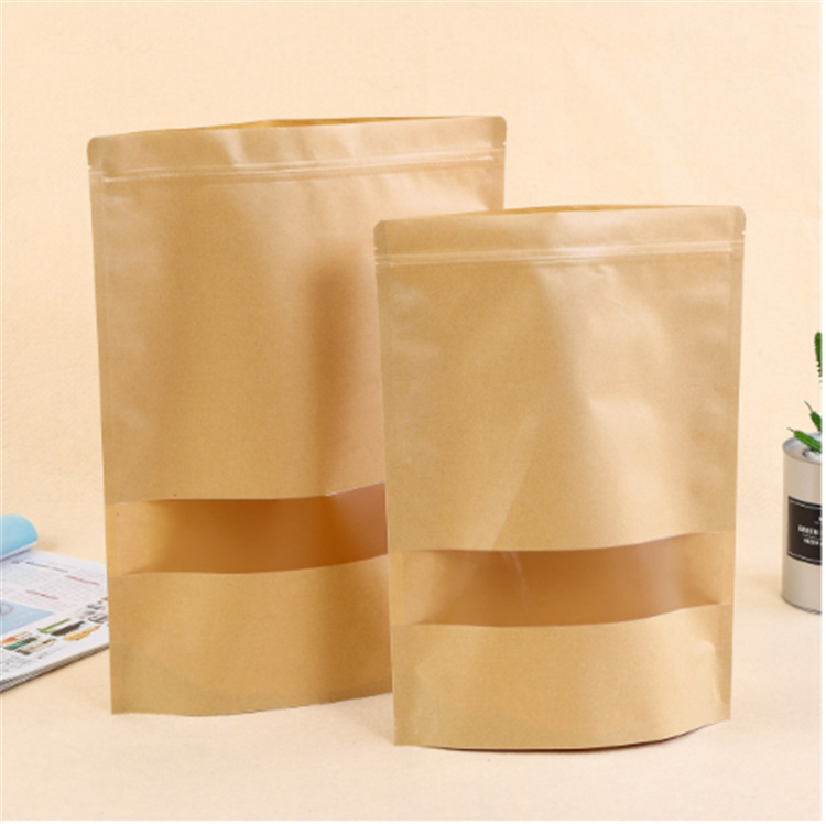 Welcome OEM stand up storage bag brown kraft food package coffee zipper paper bag with window