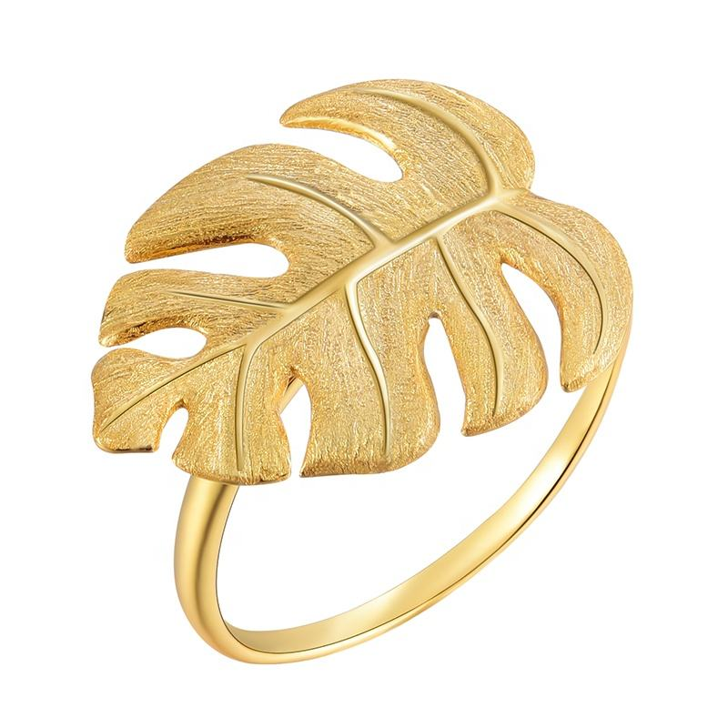 925 Sterling Gold Plated Big Leaves Vintage Silver Ring Adjustable For Women Jewelry Wholesale