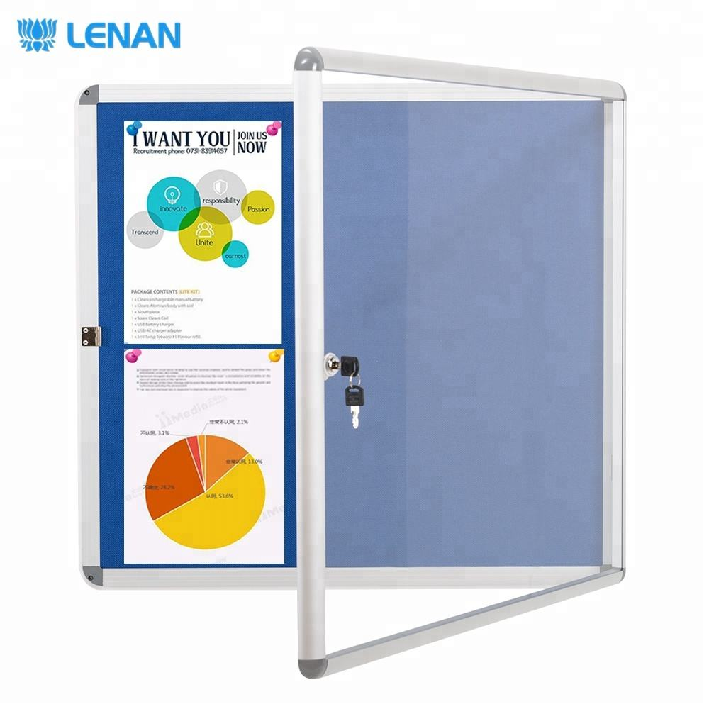 Wall mounted enclosed blue fabric message board lockable cork notice bulletin board for office and school