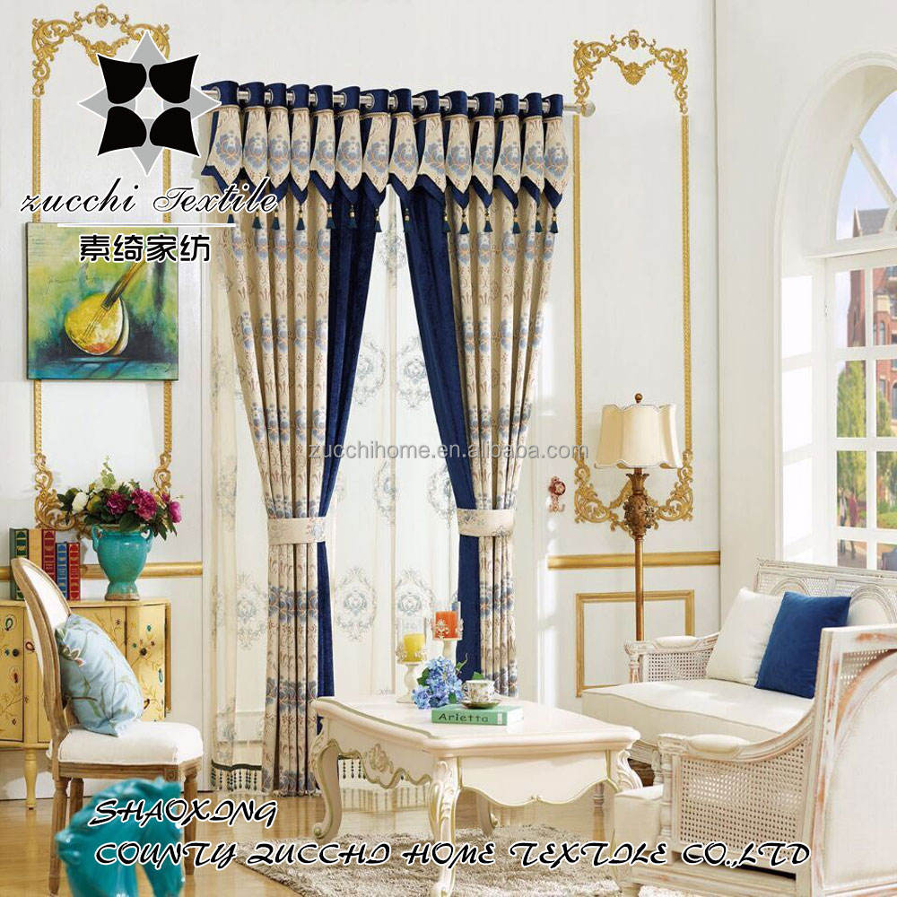 European Elegant Luxury Drape Home 100% Polyester Curtain For Living Room