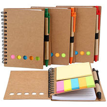 Wholesale Kraft Cover custom logo mini notebook memo sticky notepad with pen