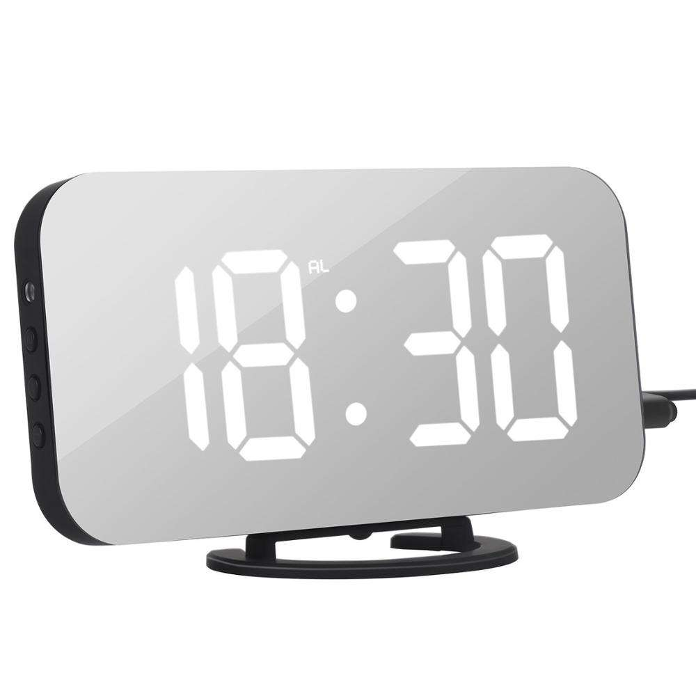 Smart LED Digit Light Large Mirror LCD Screen Digital Table Alarm Clock with Dual USB Charger -Wall hanging or free standing