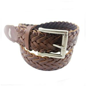 Wholesale High Quality Fashion Brown Woven Leather Belt