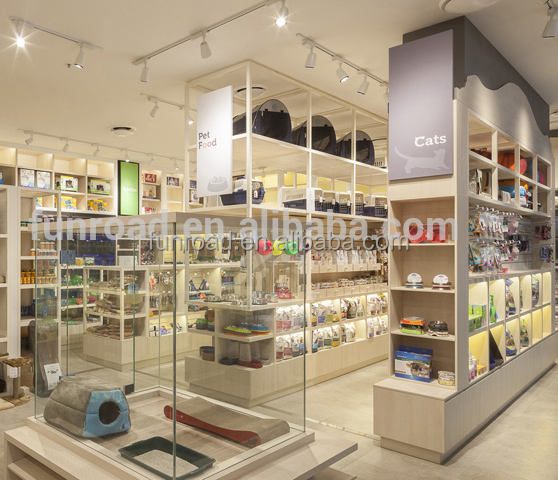 Pet supply retail shop interior design pet food display shelf and glass display cases