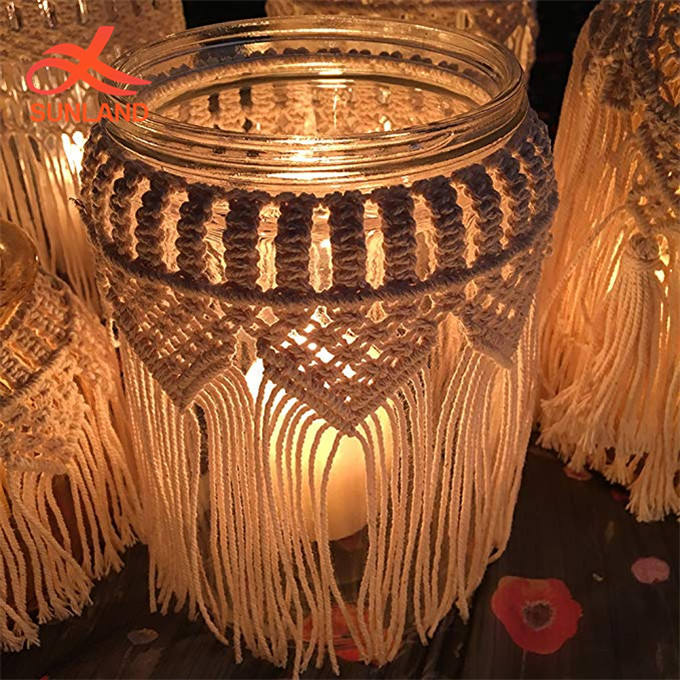 W1506 Hand Weaving Simple Home Decor Macrame Flower Vase Decorative Glass Candle Holder