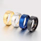 Hot sale promotions 8 MM width gold silver black blue stainless steel ring for women men