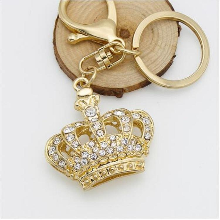 Promotional Gift Zinc Alloy 18K Gold Plated Rhinestone Crown Keychain For Women
