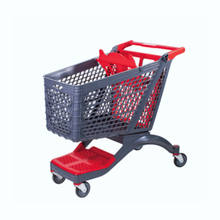 New Style Plastic Supermarket Shopping Cart with Four Wheels