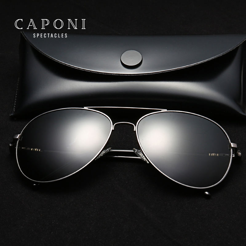 CAPONI High Quality UV400 Protect Sunglass Polarized Alloy Frame Sun Glass For Men Driving Outdoor Activity