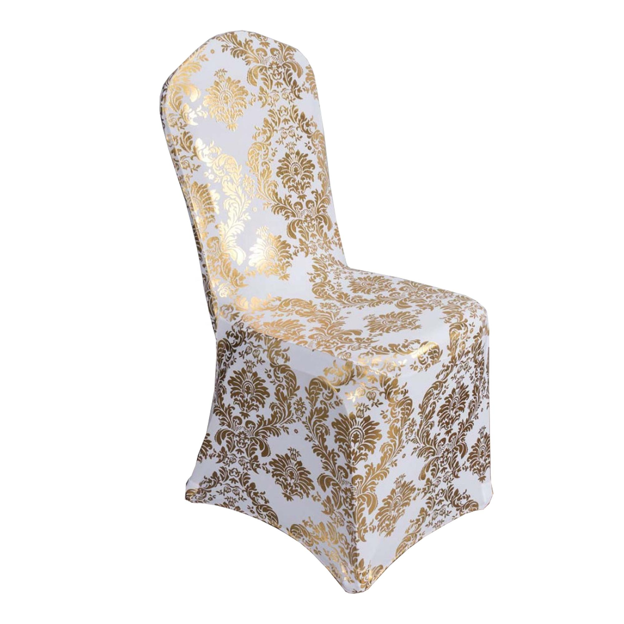wholesale wedding banquet event bronzing damask spandex chair covers