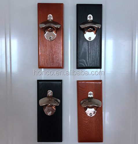Wall Mounted Automatic Wooden Beer Bottle Opener With Magnetic Catcher