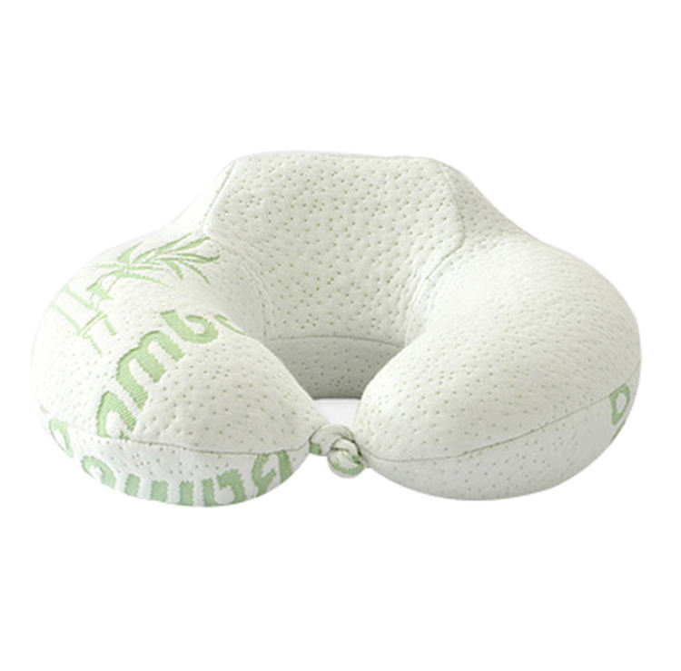 Wholesale Factory Price U Shape Bamboo Fabric Neck Pillow Memory Foam Travel Neck Pillow
